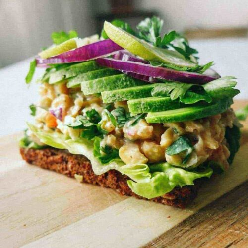 chickpea salad rye bread