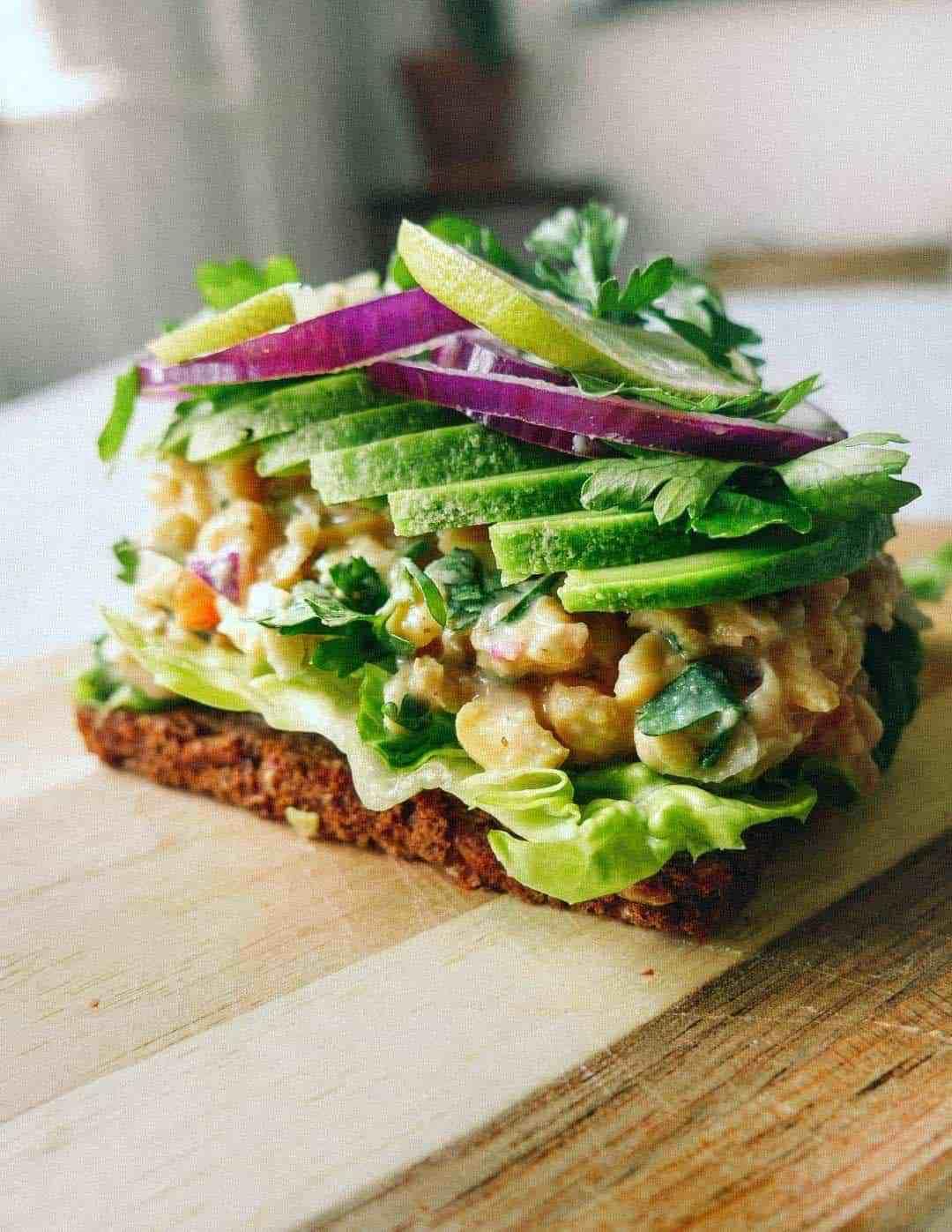 chickpea salad rye bread