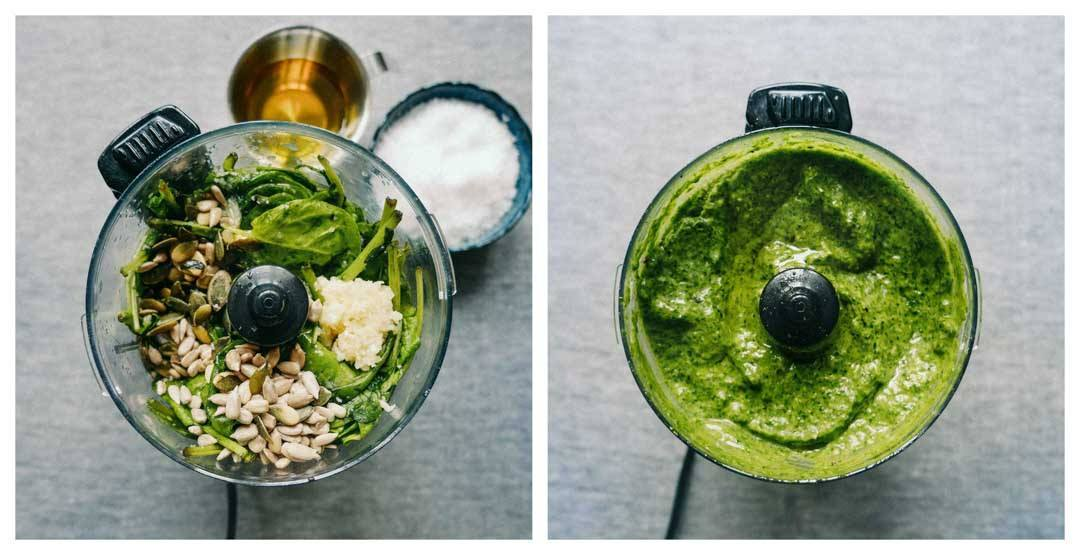 easy spinach pesto in the making
