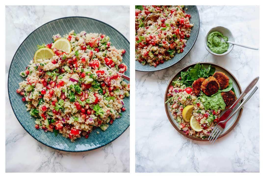couscous salat med grøntsager og vegetar frikadeller