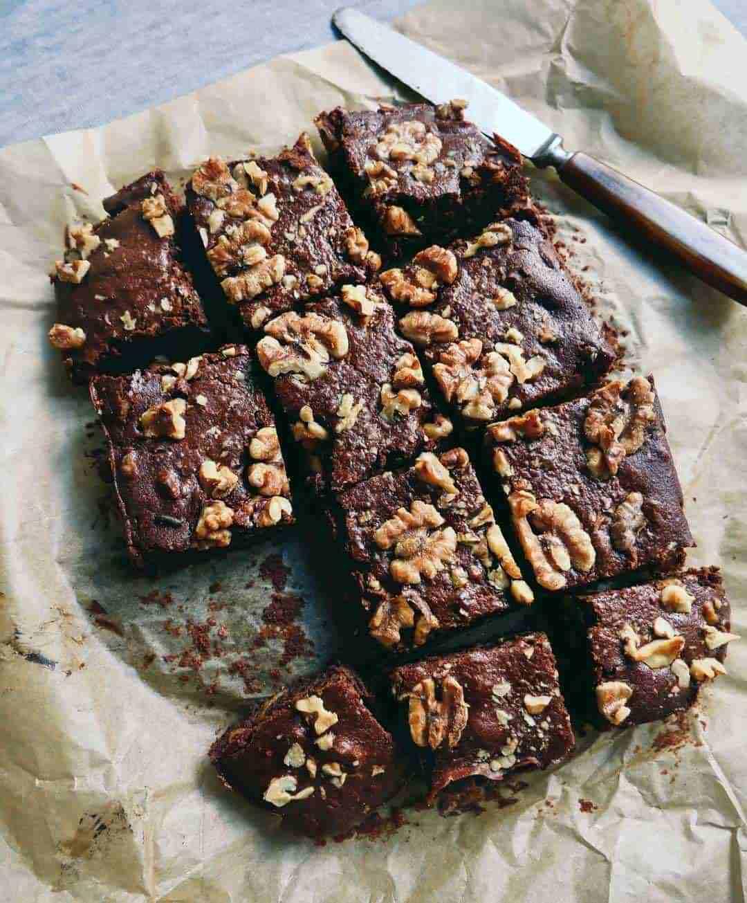 vegansk opskrift på chokolade brownies med valnødder