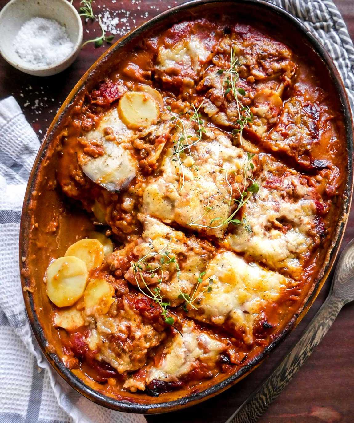 vegansk moussaka opskrift med aubergine