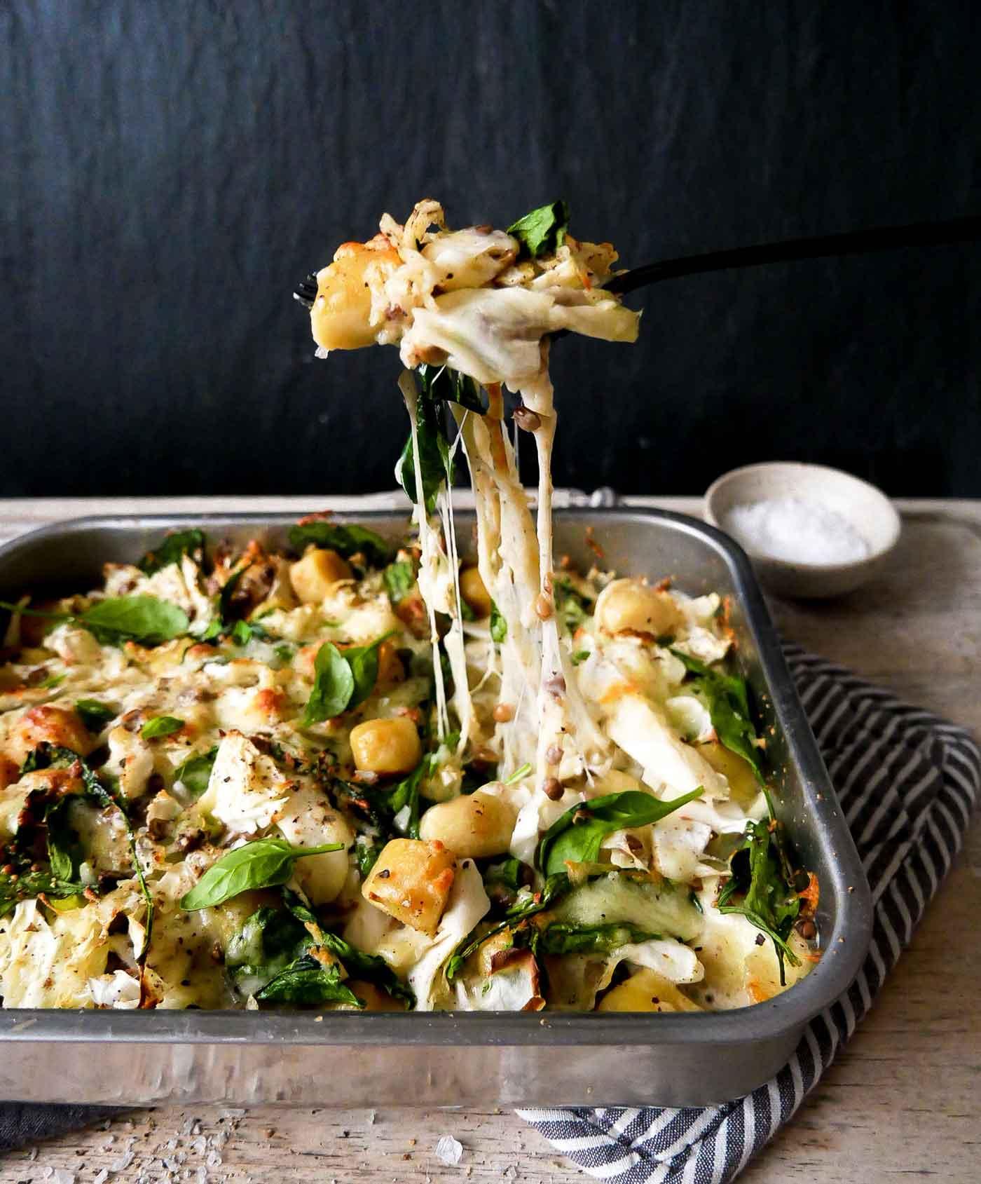 vegansk gnocchi bagt i ovnen