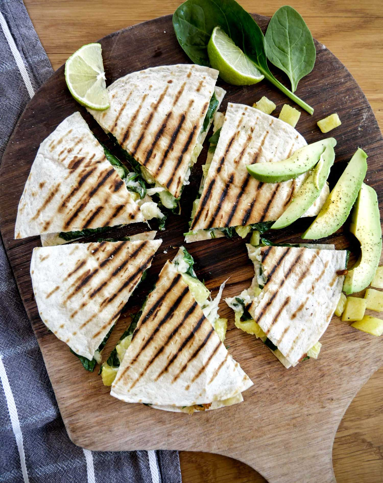 Quesadillas med spinat og ost
