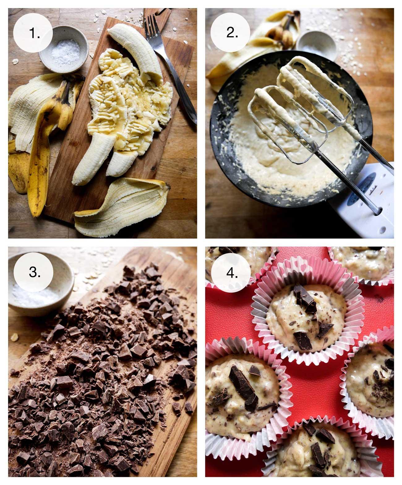 steps på bananmuffins sådan gør du