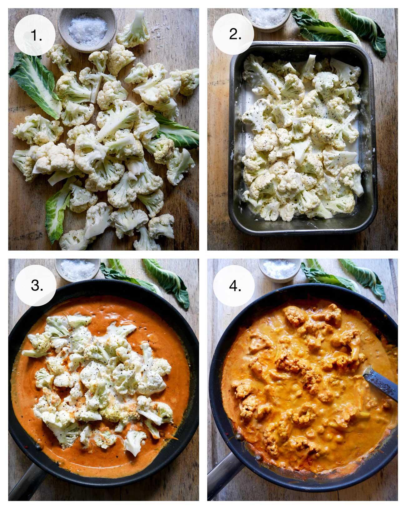 vegansk aftensmad med kokosmælk og blomkål