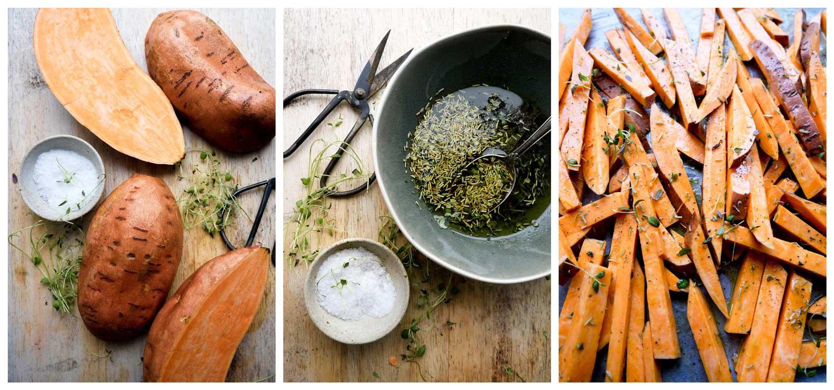 olie, fritter og salt til søde kartofler