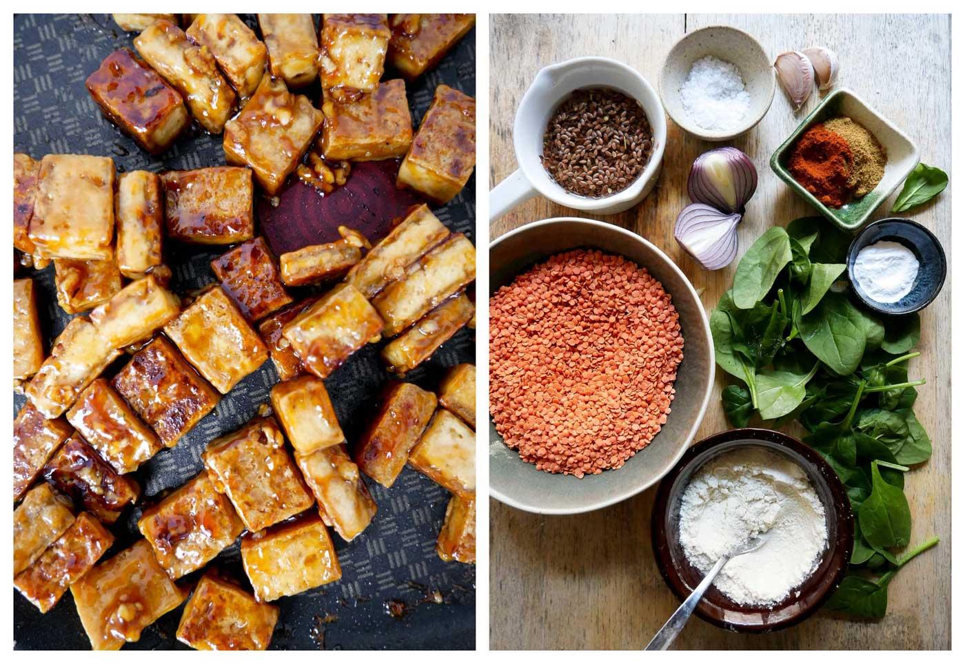 tofu, linser og grøntsager med proteiner