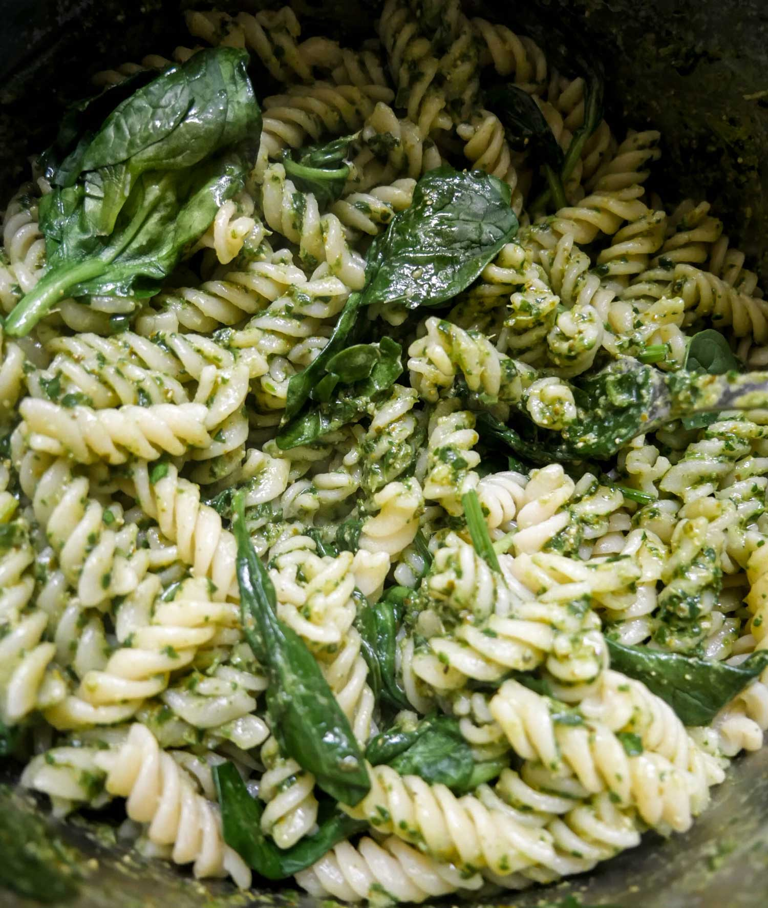 pasta med spinat pesto