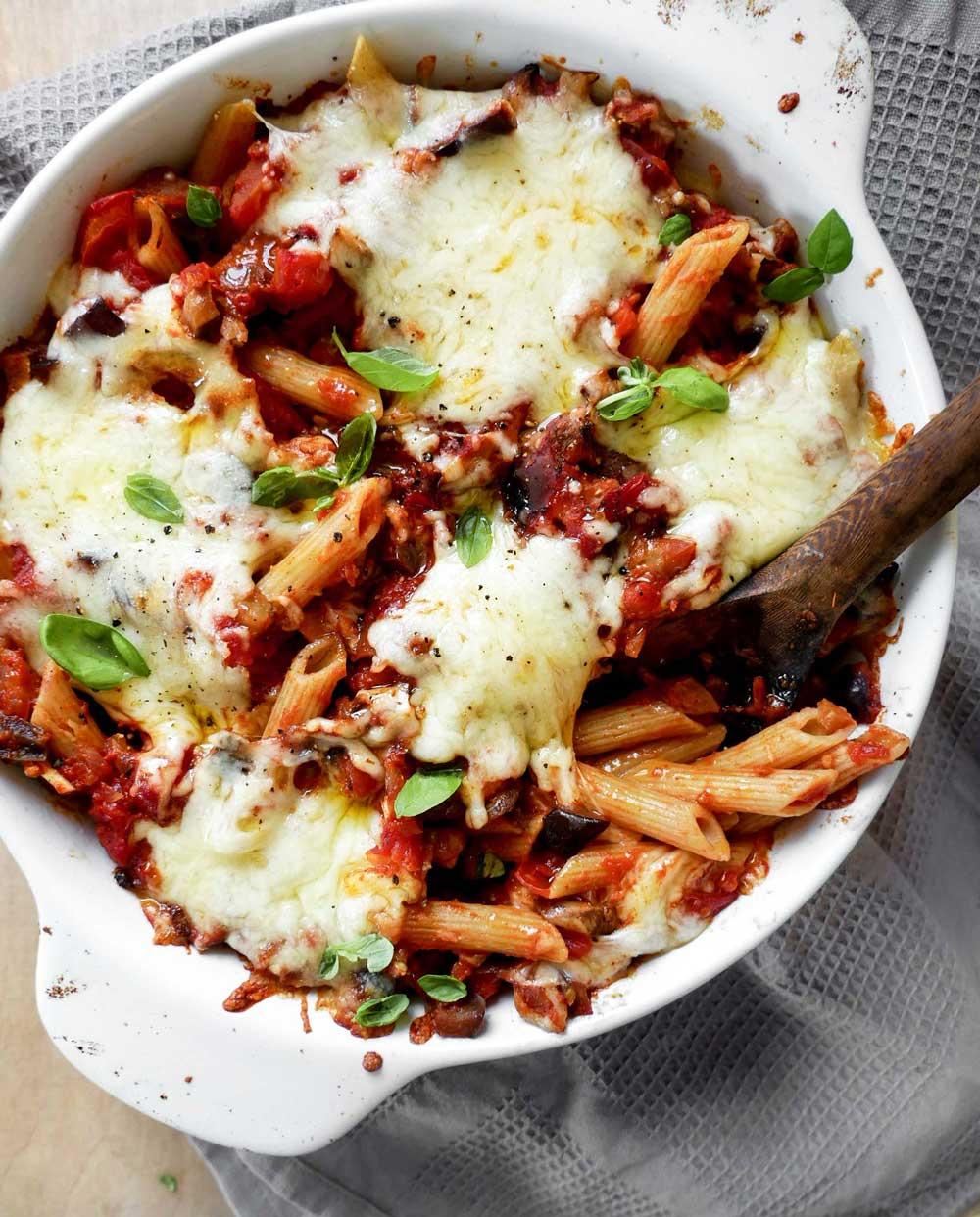 bagt pasta opskrift i ovnen