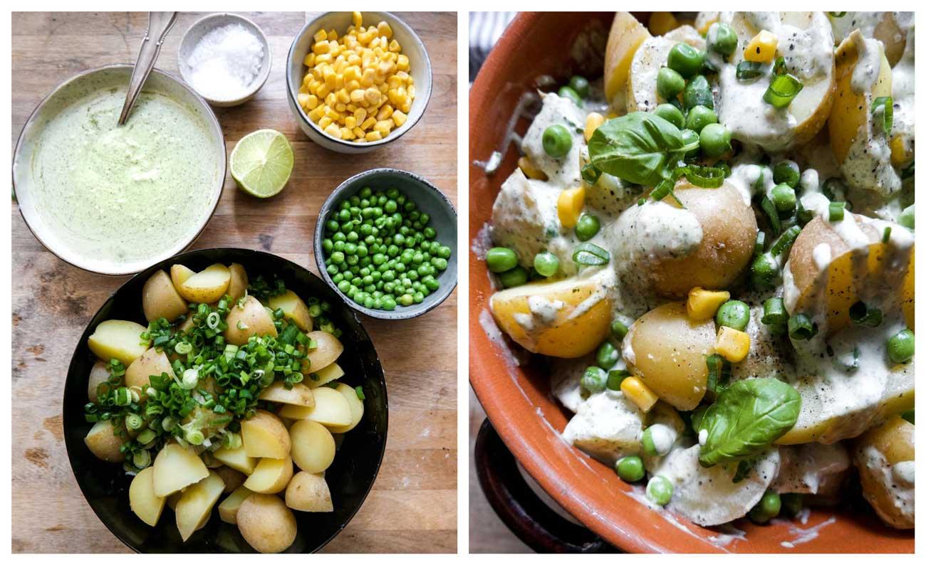salat med kartofler og pesto majs og ærter