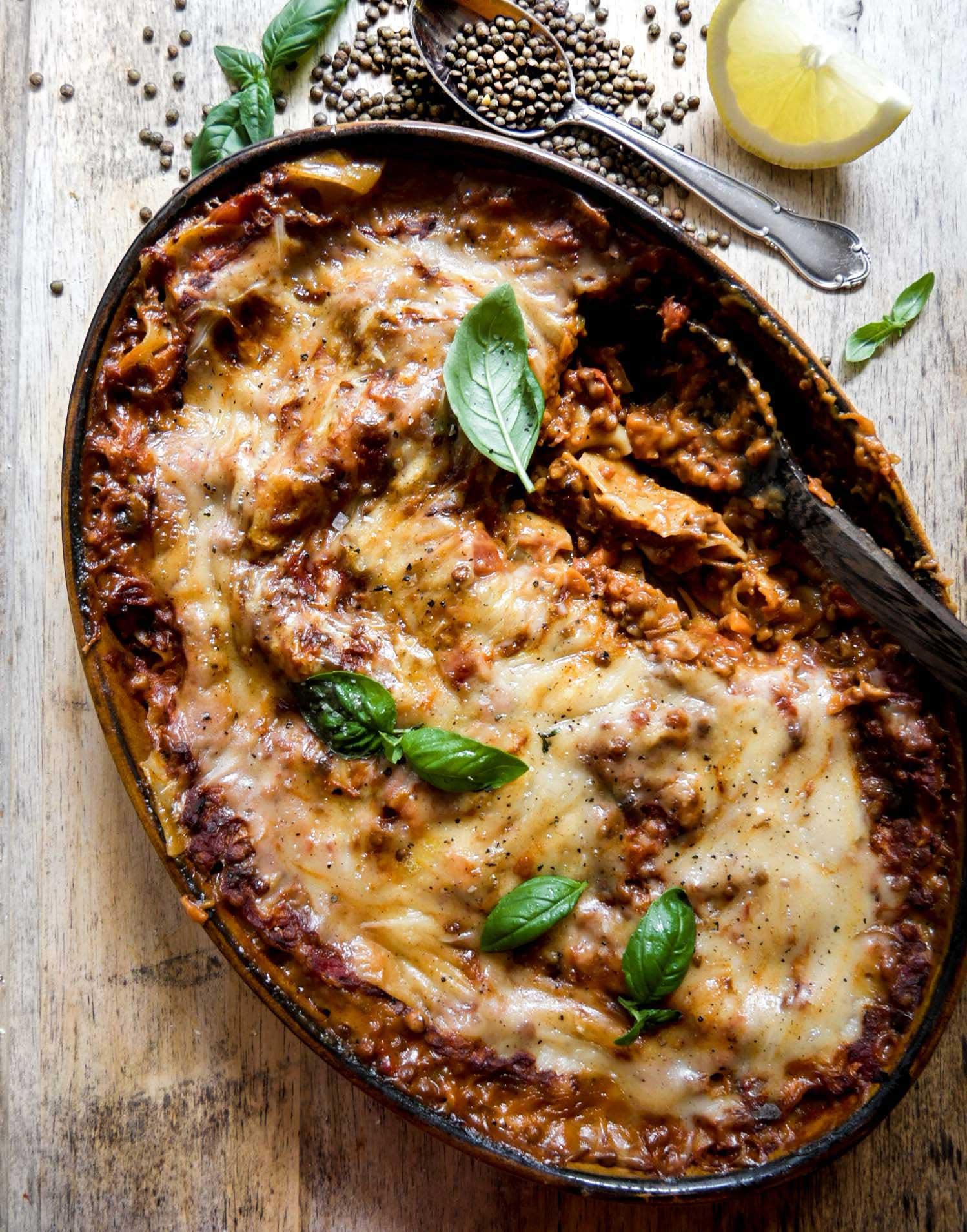 færdig lasagne med linser