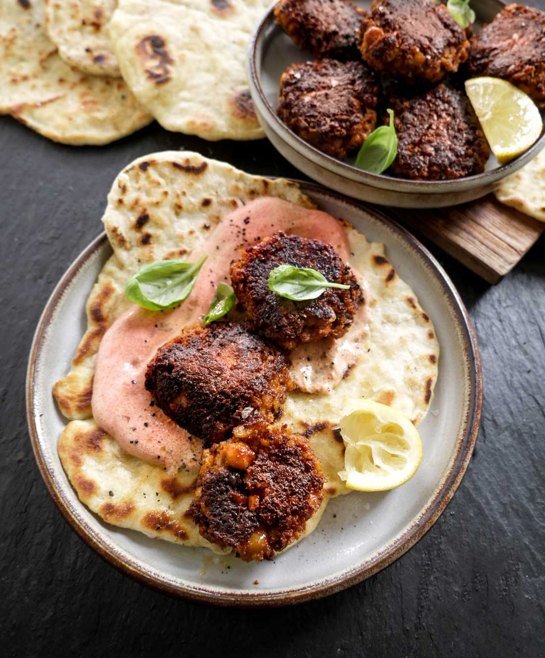 stærke harissa falafler med kikærter