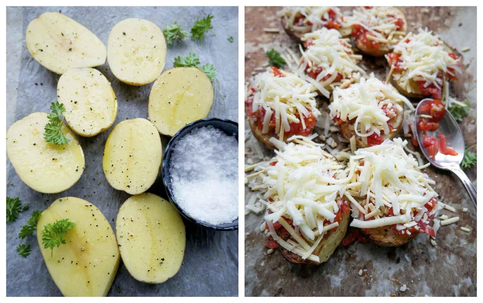 halve bagte kartofler med ost og tomat