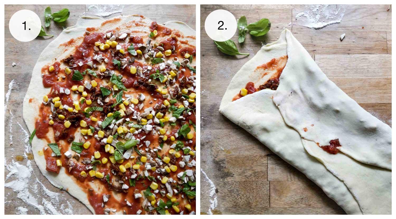 sådan formes snurrer med pizzafyld