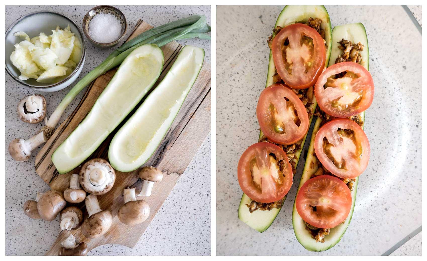 squash med fyld af grøntsager