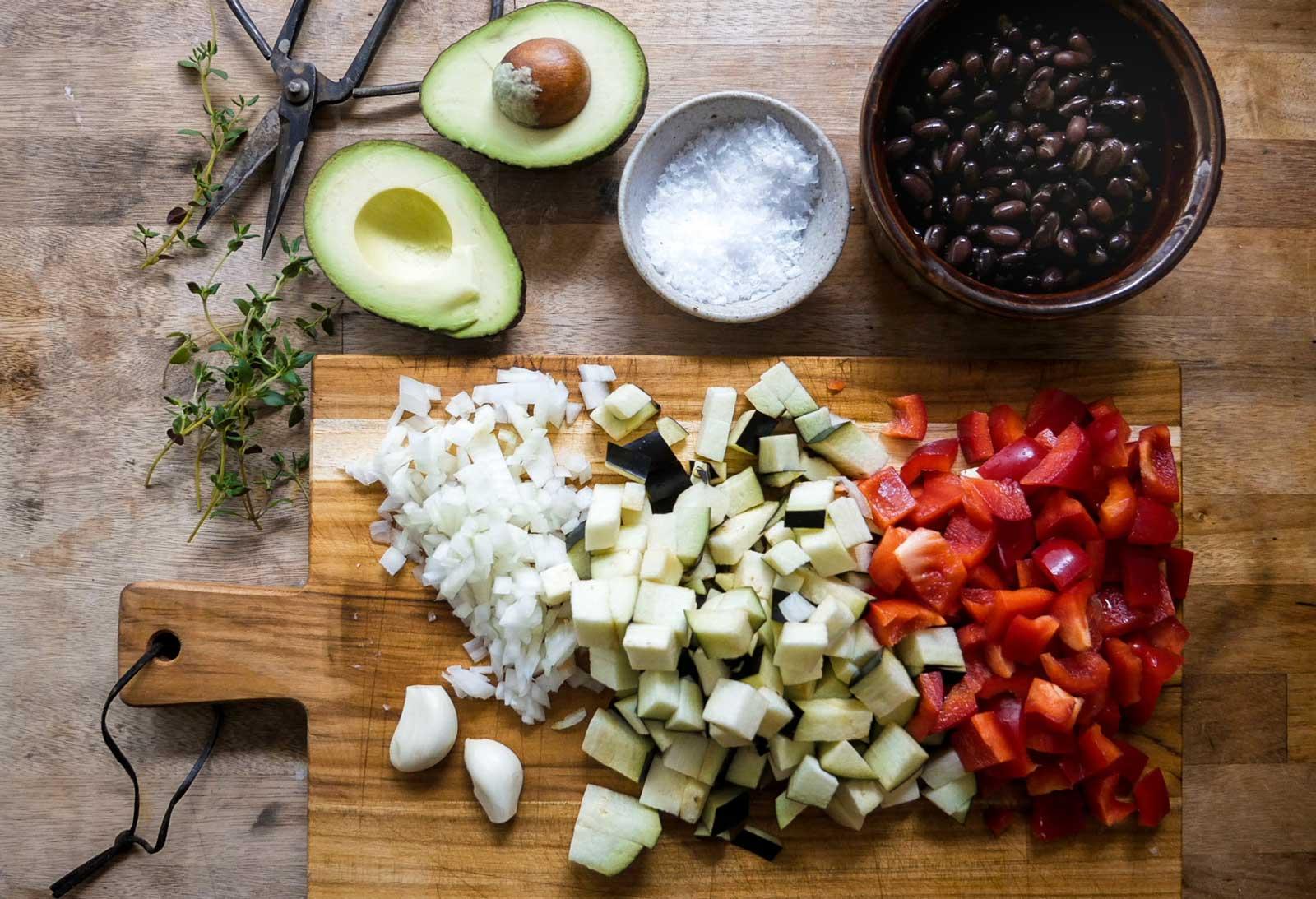 grøntsager til risret på ris ret