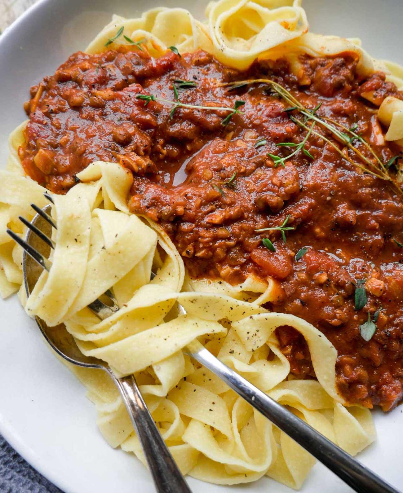 nem vegetar pasta kødsovs uden kød til veganere og vegetarer
