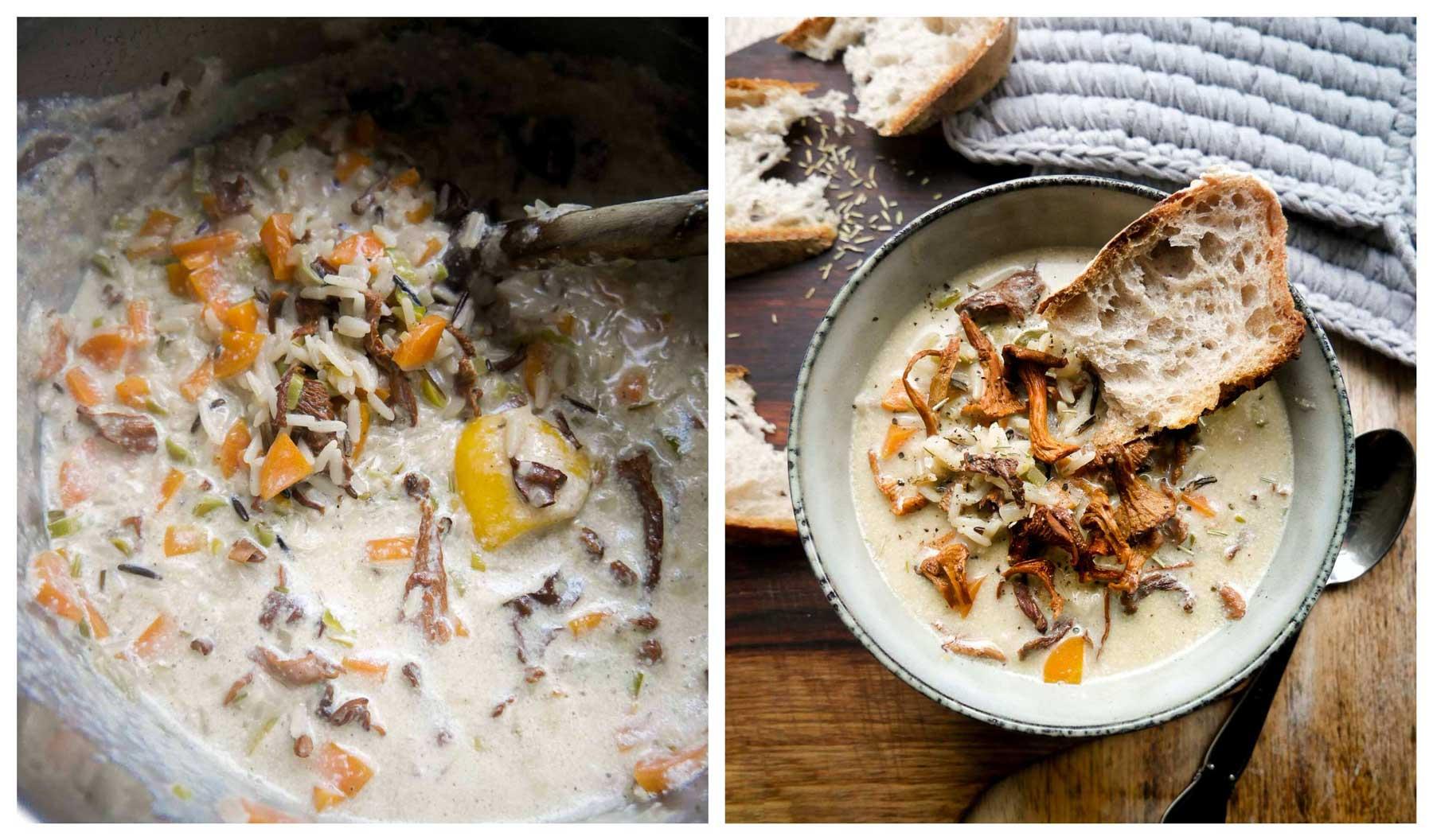 suppe med ris og kantareller