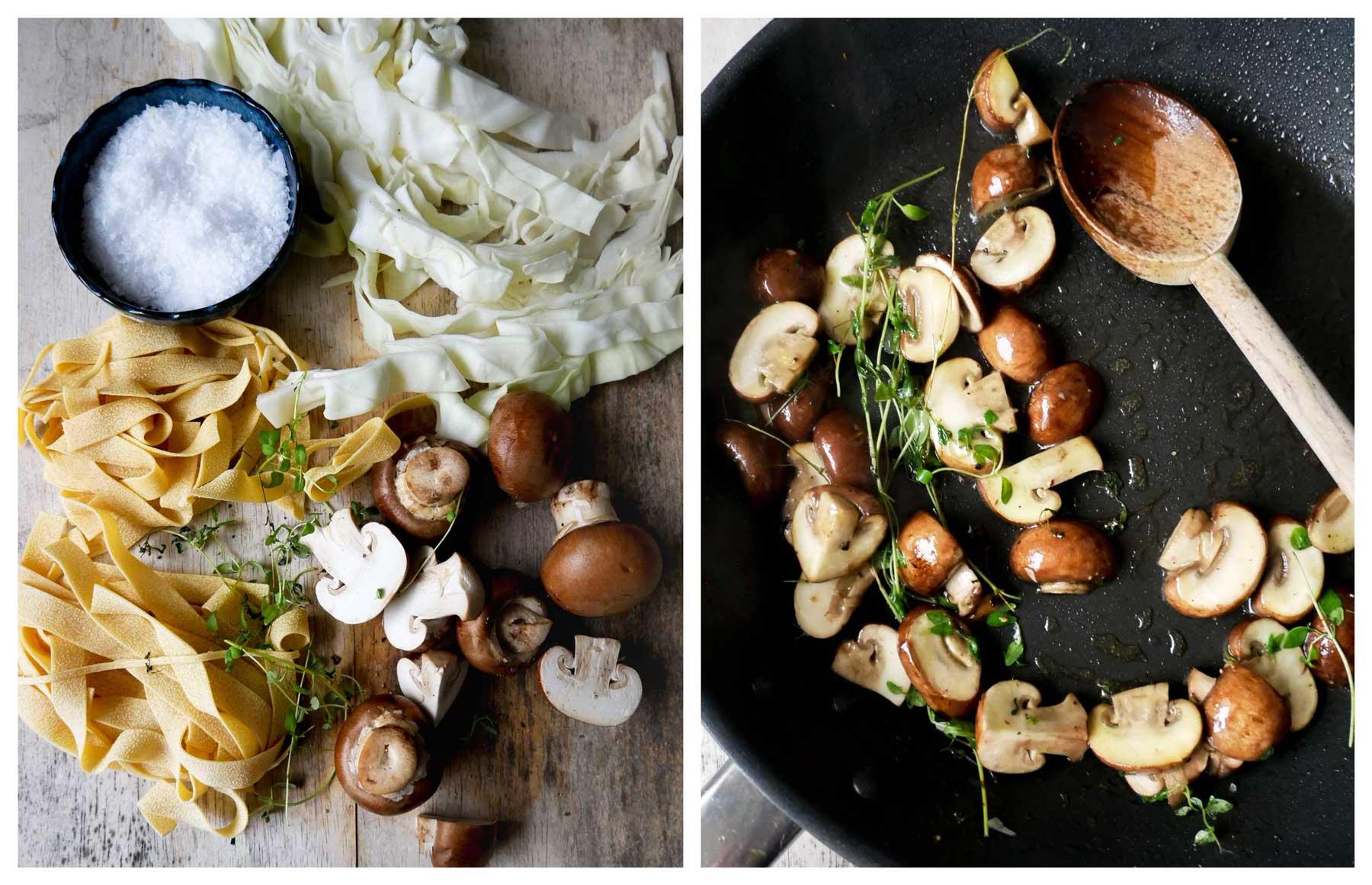 nem pastaret med svampe og spidskål