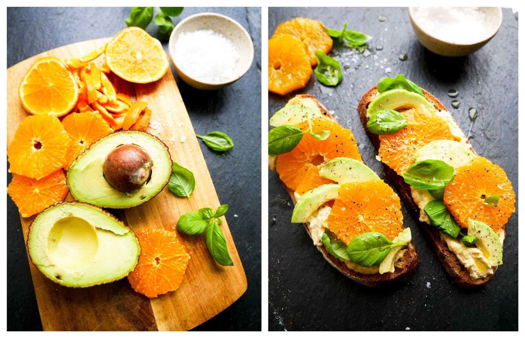 appelsin og avocado og hummus på toasts