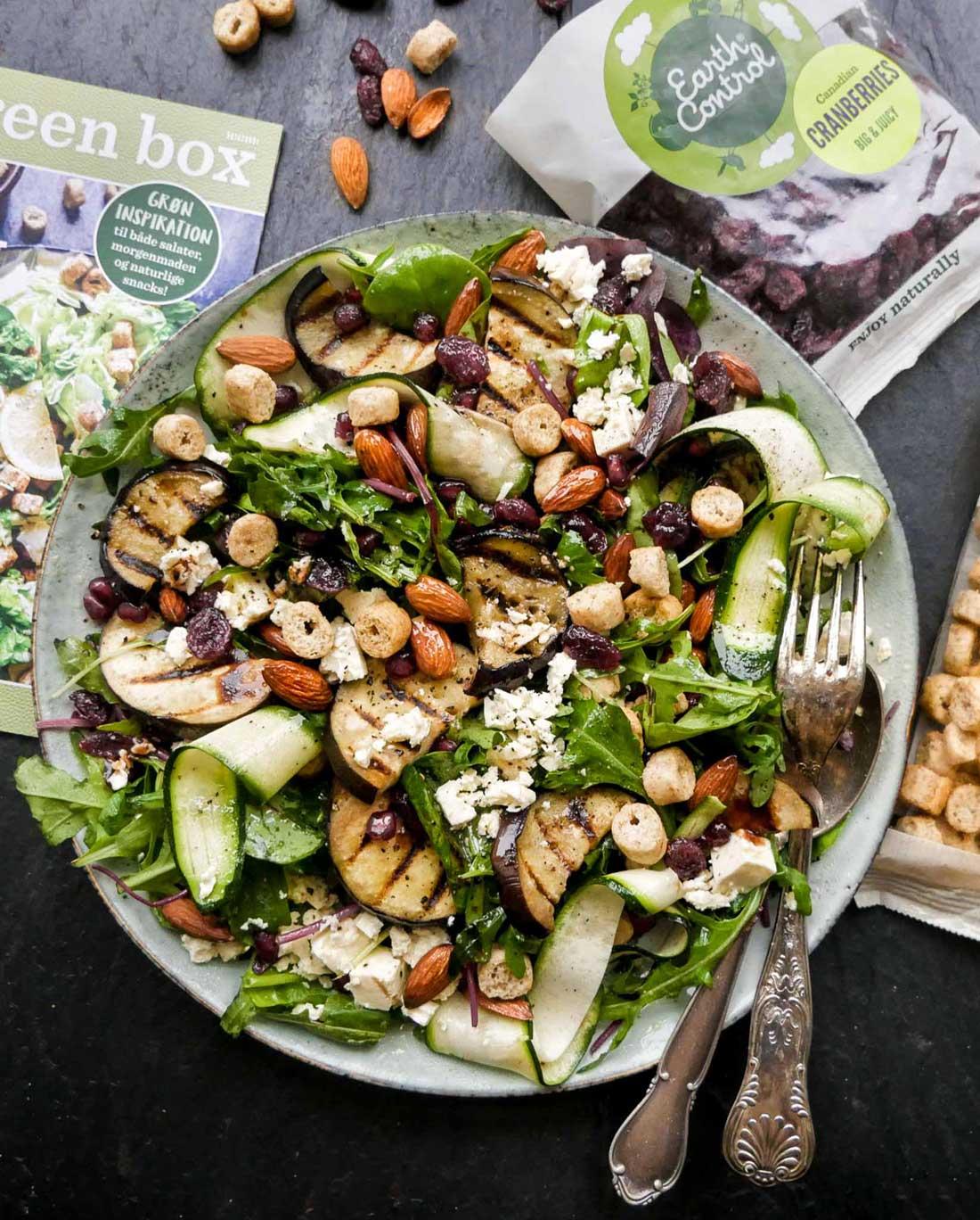 salat med auberginer og nødder og tranebær