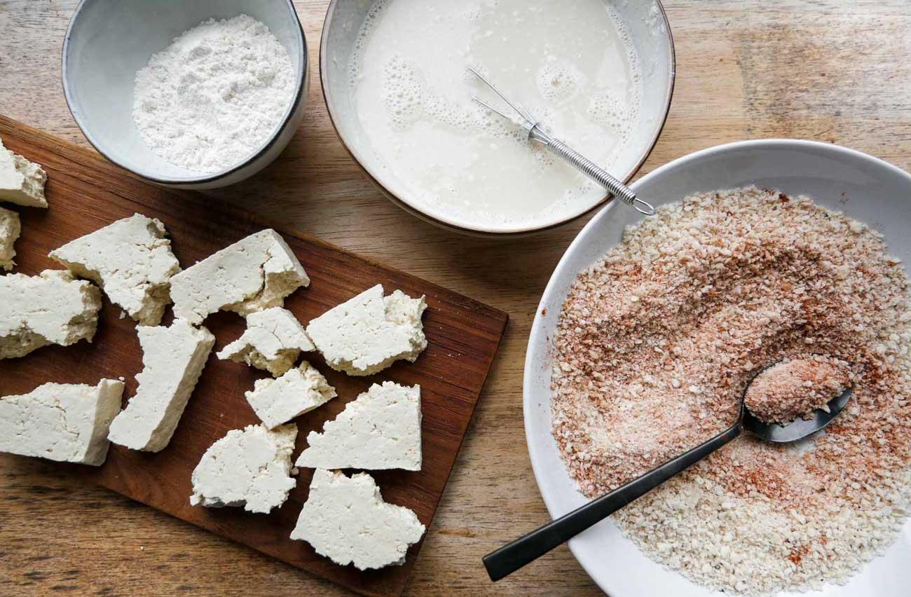 tofu nuggets med rasp og mel bages i ovn