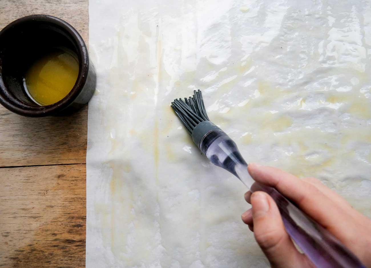 vegansk opskrift med filodej og smør