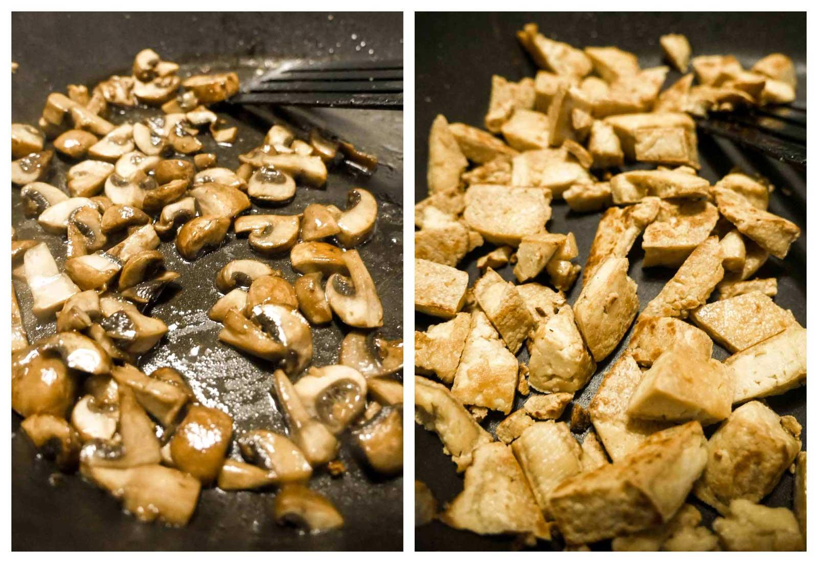 stegte svampe og tofu til pålæg