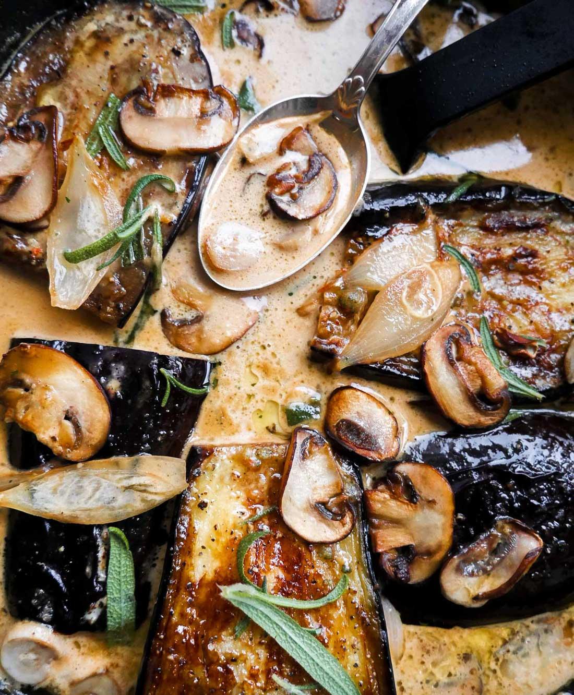vegansk aubergine opskrift med sojafløde