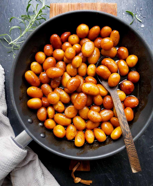 opskrift på veganske brunede kartofler