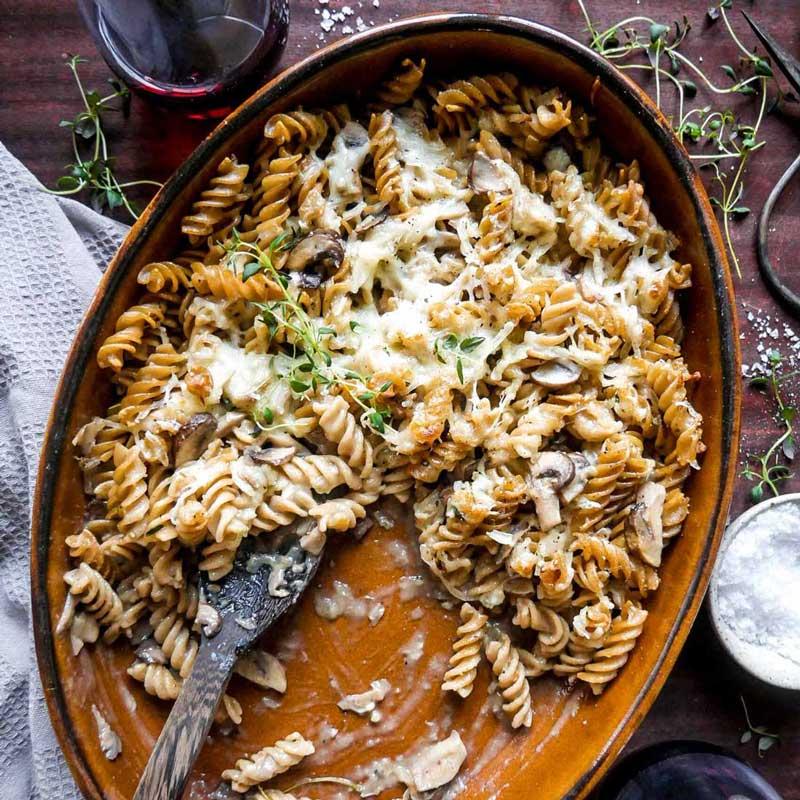 pastaret i ovnen til vegansk aftensmad micadeli