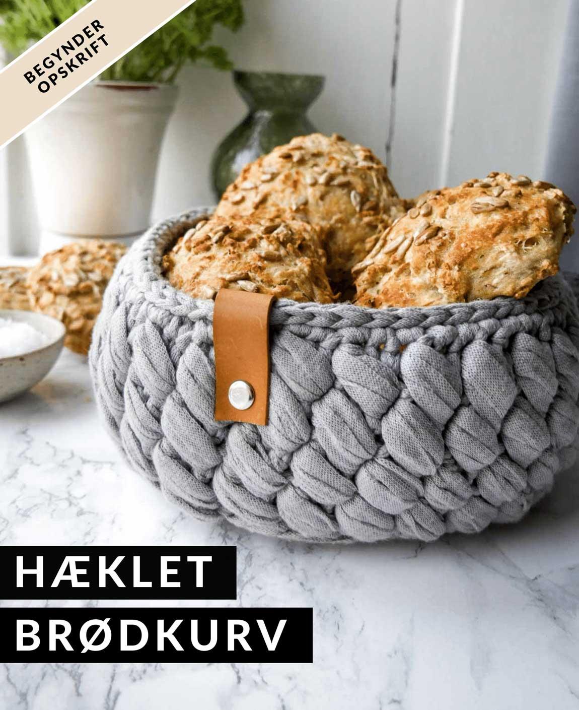 hæklet brødkurv gratis opskrift på hjemmelavet kurv
