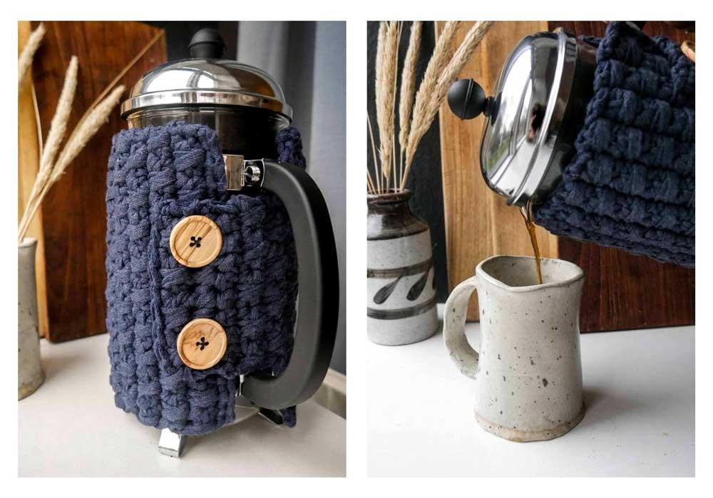 opskrift på hæklet stempelkande varmer til bodum kaffe gratis opskrift