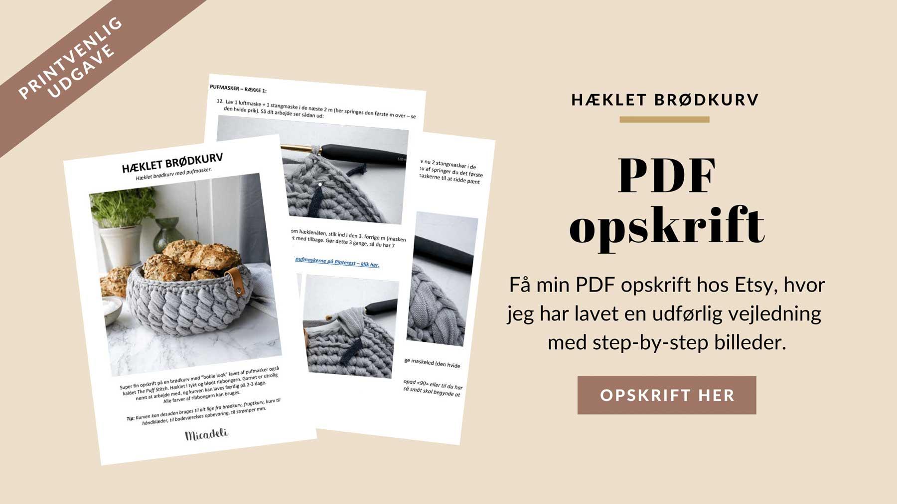 pdf opskrift på brødkurv nem hækleopskrift på etsy