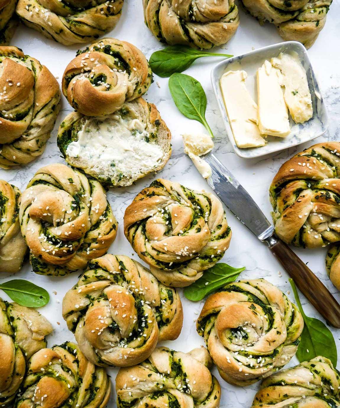 veganske spinatsnurrer med smør