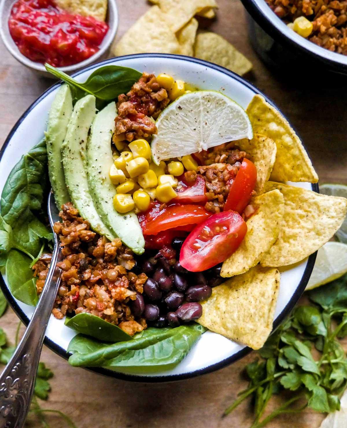 mexi bowl til vegansk aftensmad og mexicansk aften