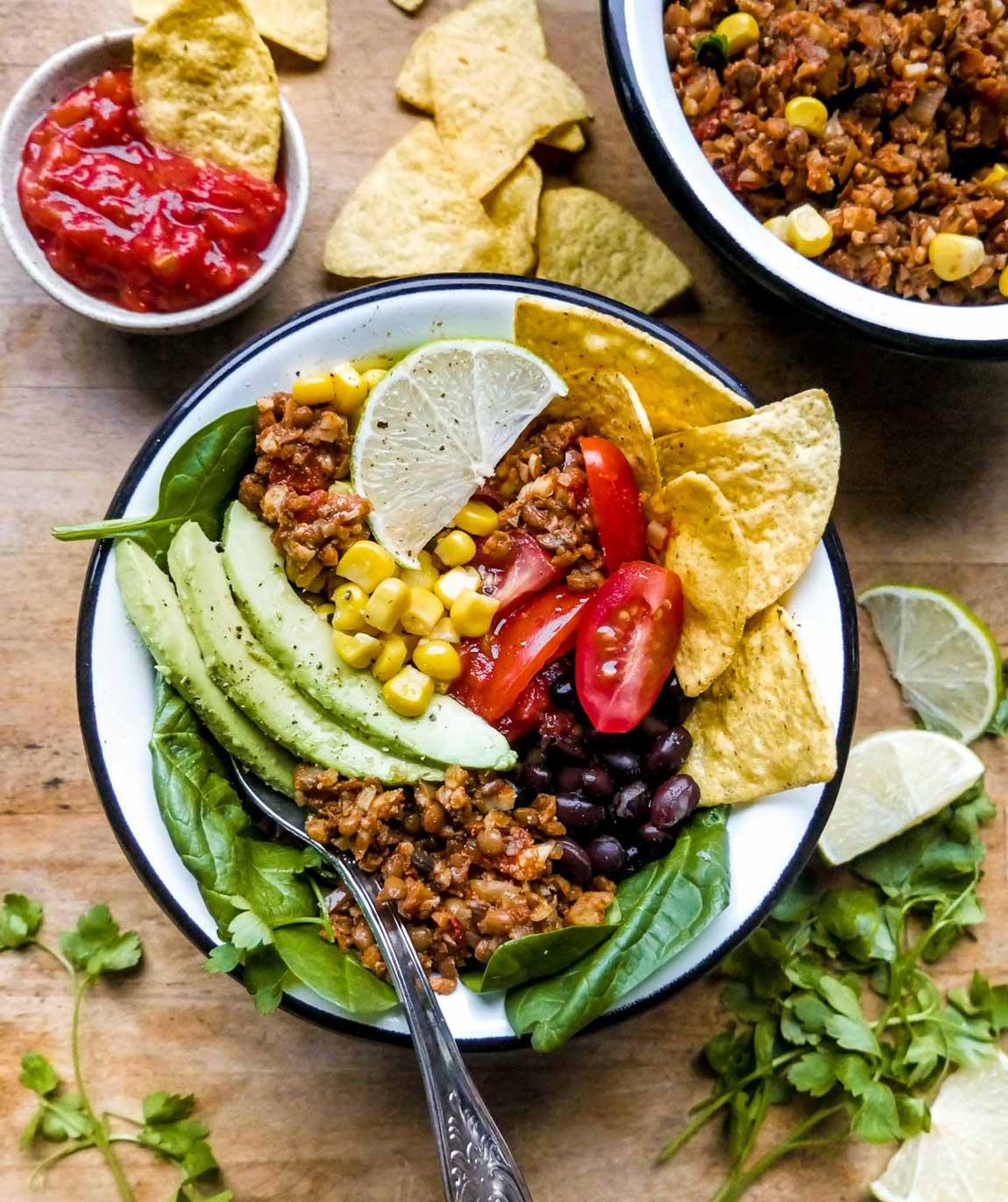 kødfri taco bowl vegansk opskrift på mexi bowl
