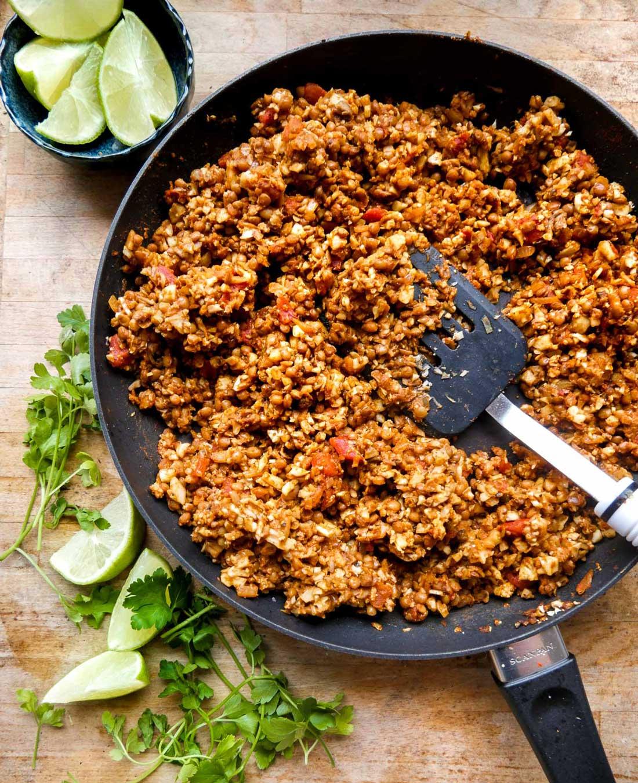 vegetar fyld til madpandekager og tortillas